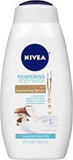 NIVEA Pampering and Almond Milk Body Wash - With Nourishing Serum, Single, Coconut, 20 Fl Oz