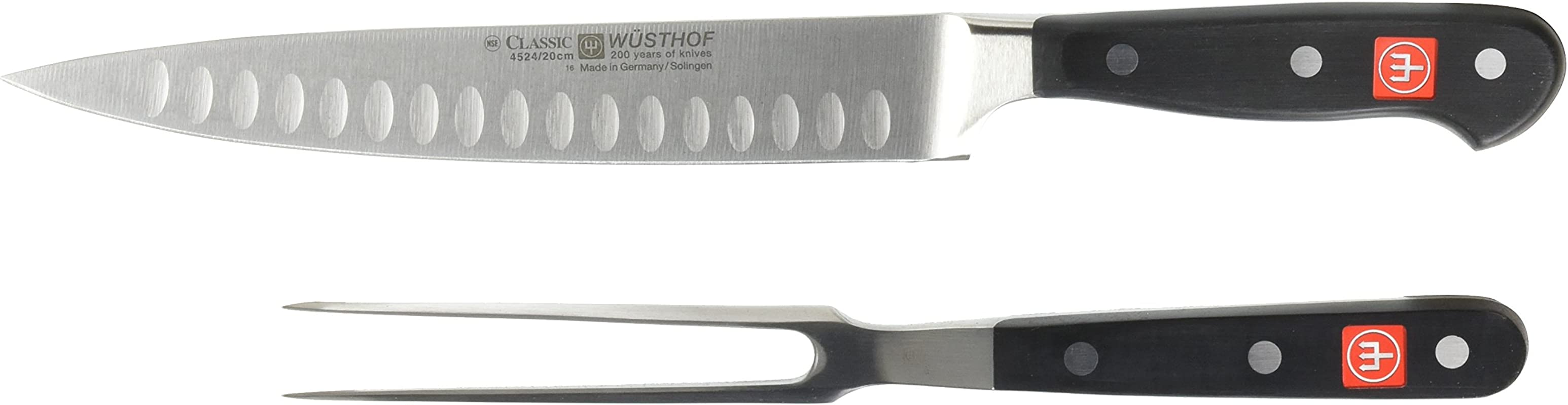 Wusthof 9740 1 CLASSIC Two Piece Carving Set 2 Black Stainless Steel