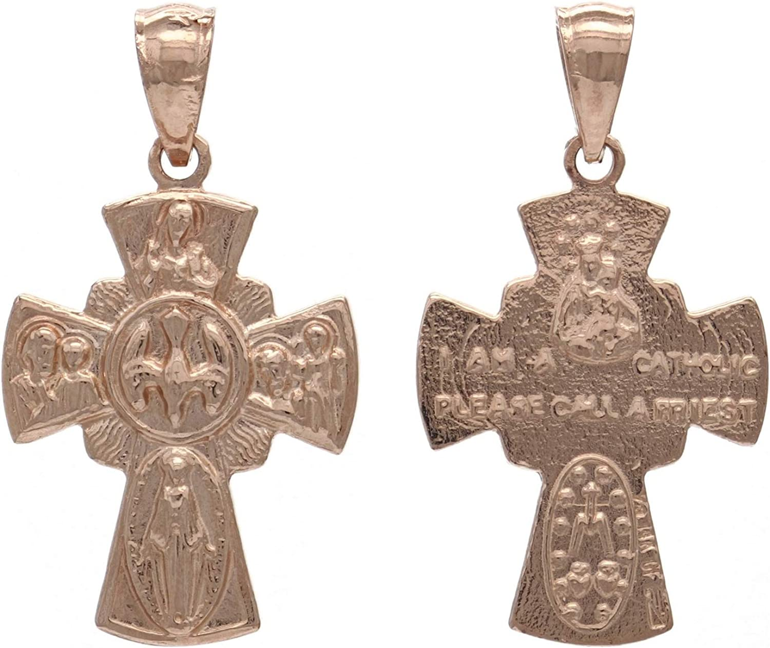 14k Yellow White or Rose Gold Flared With Cross unisex and Mary It is very popular Dove Di