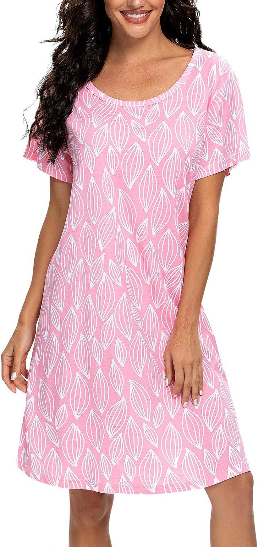 Women's Nightgown Short Sleeve Sleepshirts House Dress Sleepwear Casual Print Pajama