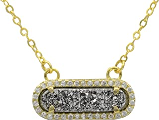 Queen Druzy Necklace 18K Gold Plated - Natural Silver Druzy (Drusy) Pendant for Women