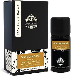 Sandalwood Essential Oil (Indian Sandalwood Oil) - Aroma Tierra - 100% Pure & Natural, Authentic - 10ml