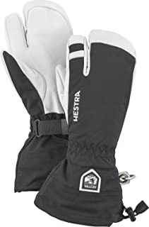 Army Leather Heli Ski 3-Finger Gloves with Gauntlet