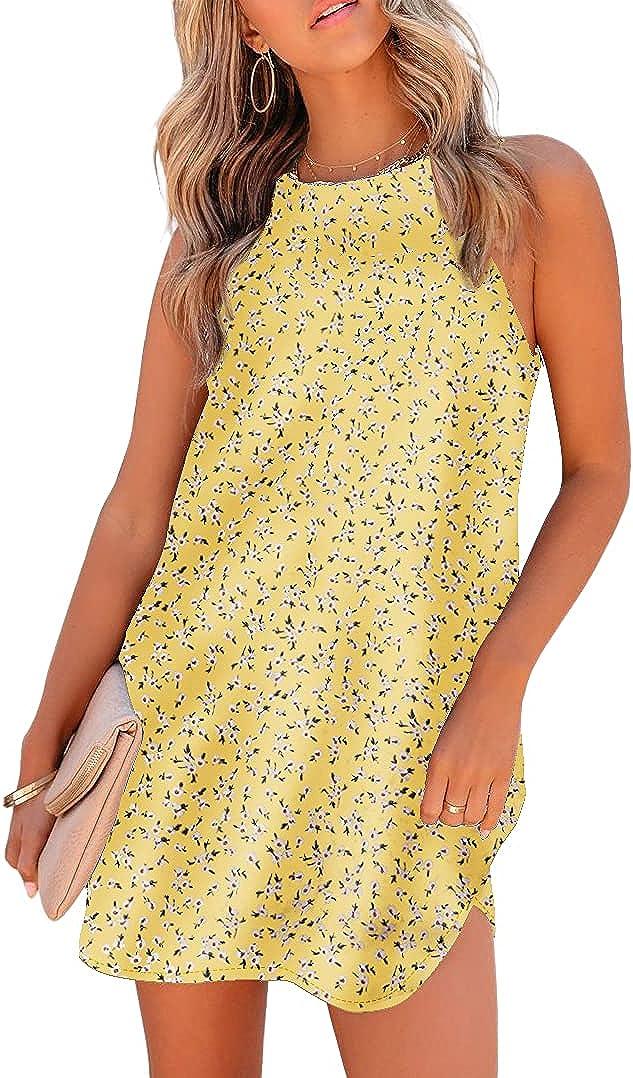 Qumee 2021 Summer Dress for Women Spaghetti Strap Mini Dress Floral Short Casual Dress