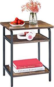 Mr IRONSTONE Small End Table for Living Room Modern Bedroom Nightstand, 3-Tier Side Table with Easy Assembly Black Metal Frame, Industrial Rustic Brown