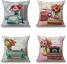 QISHOP Throw Pillow Covers - Linen Cotton Blend Decorative Design Zippered for Couch 18x18 Inch Pack of 4(Retro Telephone)