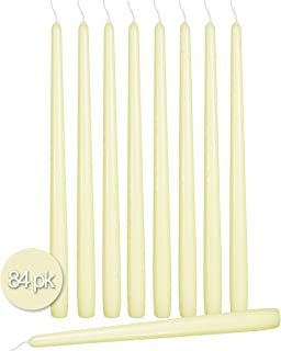 Ner Mitzvah 84 Pack Tall Taper Candles - 14 Inch Ivory Dripless, Unscented Dinner Candle - Paraffin Wax with Cotton Wicks - 12 Hour Burn Time