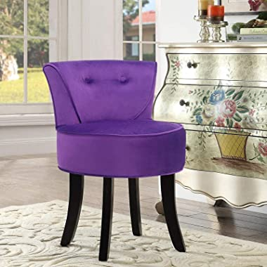 Vanity Chair Velvet Dressing Table Chair-Makeup Seat Stool,Baroque Piano Chair with Black Wood Legs for Living Room Makeup Ro