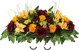 Artificial Cemetery Flowers Saddle-Arrangement - Burgundy & Orange Fall Mix Silk Fake Flowers for Outdoor Grave-Decoration - Non-Bleed Color, Easy Fit