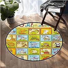 Educational Indoor Outdoor Carpet Zoo Alphabet Design Colorful Style Funny Cartoon Animals Children Kids School Floor mats for Kids D72 Inch