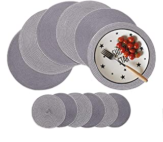 HiiARug Round Placemats and Coasters Set of 6 Gray, 15