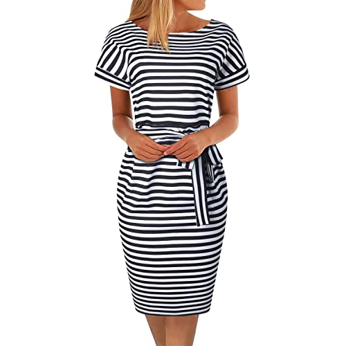 b193f738123 BOKALY Women s Pencil Dress Knee Length Business Casual Belted Elegant Party  Dresses with Pockets