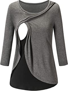 Women's Nursing Tops Long Sleeve Layered Maternity Breastfeeding Tunic Tee Shirt
