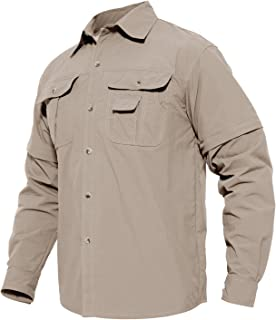 MAGCOMSEN Men's Quick Dry Breathable Convertible Long Sleeve Rip-Stop Shirt