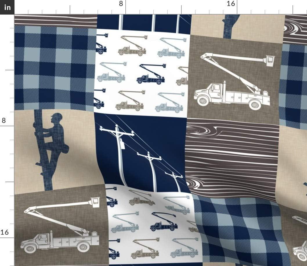Spoonflower Fabric - Lineman Patchwork 限定モデル Plaid Tan Wholeclot 人気の製品 Brown