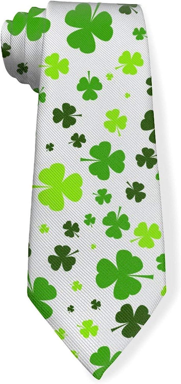 Happy St. Patrick's Day Clover GreetingMens Classic Color Slim Tie, Men's Neckties, Fashion Boys Cravats
