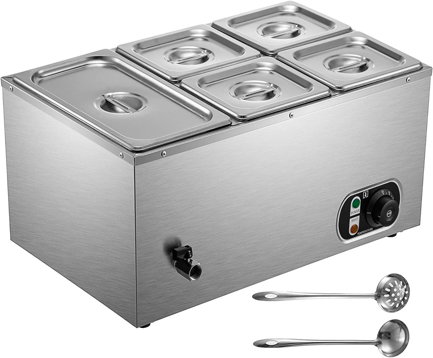 VEVOR 110V Commercial Food Warmer 1x1/3GN and 4x1/6GN, 5-Pan Stainless Steel Bain Marie 24 Quart Capacity,1500W Steam Table 15cm/6inch Deep, Electric Food Warmer with Lid for Catering Restaurants