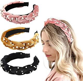 Makone Braid Pearl Velvet Headbands for Womens Pearl Padded Headband Vintage Braid Hairband with Pearl Hair Hoops Fashion Hair Accessories for Wedding Party