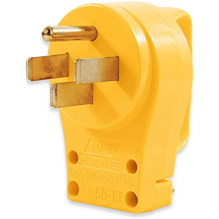 Camco PowerGrip Replacement Plug- Transform your RV Plug into a Safe and Durable PowerGrip Cord 50 AMP (55255) , Yellow