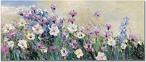 Handgeschilderd Olieverfschilderij - Modern 3D Handgeschilderd Mes Abstract Blauw Paars Bloemen Olieverfschilderij Op Canv...
