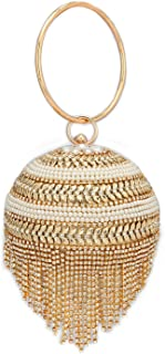 ZUBY®| Women's Evening Bag Round Ball Wedding Handbag Artificial Purse | Crystal Evening Clutch Bag Gold | Wedding Party B...