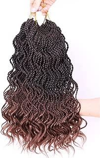 DAIRESS (6 Packs) 14Inch 35strands Wavy Senegalese Twist Crochet Hair Braids Wavy Ends Free Synthetic Hair Extensions Kanekalon Curly Crochet Twist Braiding Hair (#30)
