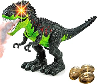 Toysery Simulated Flame Spray Tyrannosaurus T-Rex Dinosaur Toy for Kids - Walking Dinosaur Fire Breathing Water Spray Mist with Red Light & Realistic Sounds, Green