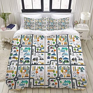 VANKINE 3PC Bedding Set Graphic Illustration of Cityscape Divided by Roads Nursery Activity 1 Duvet Cover with 2 Matching Pillowcases Apartment Bedroom Decor Full/Queen