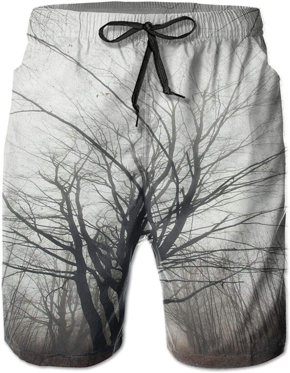 Vertical Photo of Autumn Tree in Dark Haunted Foggy Mist Mysterious Forest Picture Swimming Trunks for Men Beach Shorts Casual Style,L