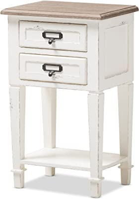 Baxton Studio Francine Provincial Style Oak Wood Nightstand, White/Natural