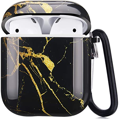 Happypapa Airpods Case Designed for Apple AirPods 2 & 1 Full Protective Case Cover with Keychain Cute Girls Men Durable Shockproof Anti Lost Case for Airpods Charging Case (Black Gold Marble)