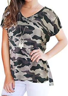Women Fashion Casual V-Neck Plus Size Short Sleeve Camouflage Hollow Out Loose Tops T-Shirts Blouse