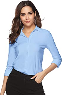 Womens Casual Work Blouse V Neck Button Down Shirt Top