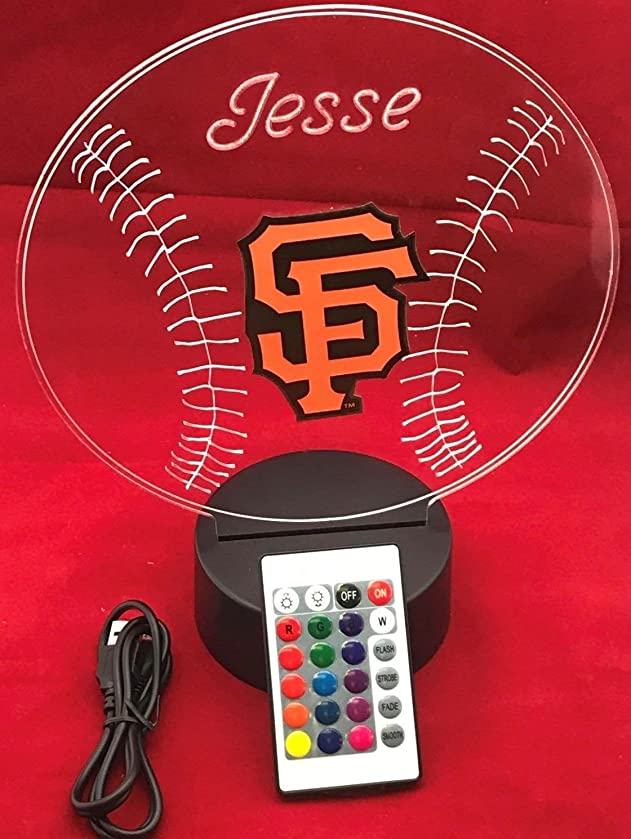 San Francisco Beautiful Handmade Acrylic Personalized Giants MLB Baseball Light Up Light Lamp LED Lamp, Our Newest Feature - It's WOW, With Remote, 16 Color Options, Dimmer, Free Engraved, Great Gift