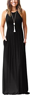 ZIOOER Women's Summer Sleeveless Loose Long Maxi Casual Dresses with Pockets