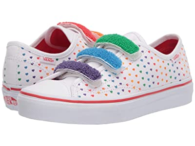 Vans Kids Style 23 V (Big Kid) ((Chenille) Rainbow Heart/True White) Girls Shoes