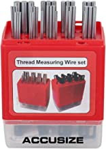 Accusize Industrial Tools U.S. and Metric Thread Measuring Wire Set with Thread Measuring Wire Holders, Eg06-1002