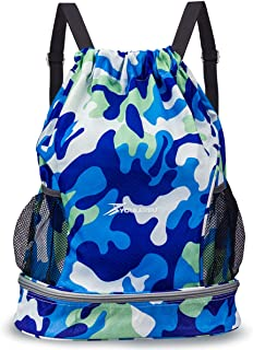 Drawstring Backpack Bag with Shoe and Wet Compartment Sports Gym Swim Beach Bag