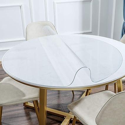 KSHG - Protector de mesa sin olor, plástico transparente, 1,5 mm de espesor, redondo, impermeable, para mesa de noche, mesa y tocador, 76,2 cm, varios ...
