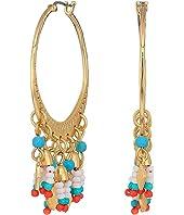 Luna Etched Metal Hoops Earrings with Fringe