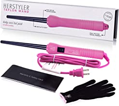 Herstyler Baby Curls Mini Curling Iron | Tapered 1/2 to 3/4 Curling Iron | Skinny Curling Wand for Queens Who Want to Be Crowned in Curls | 9mm to 13mm Wand with Dual Voltage | Pink