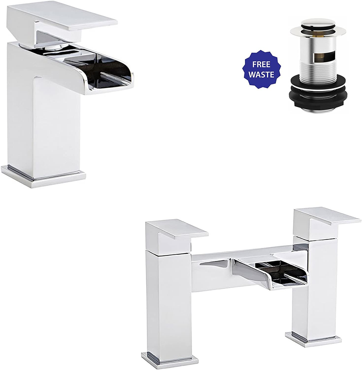 Modern Phase Bath Filler & Mono Basin Mixer Tap + Free Waste Solid Brass Bathroom Set - Chrome Finish