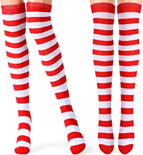 2 Pairs Women Long Striped Socks Over Knee High Opaque Stockings for Christmas