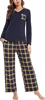 iClosam Pyjama Femme Hiver, Bas Pyjama Femme Flanelle Manches Longues en Coton Confortable Ensemble de Pyjama Femme à Carr...