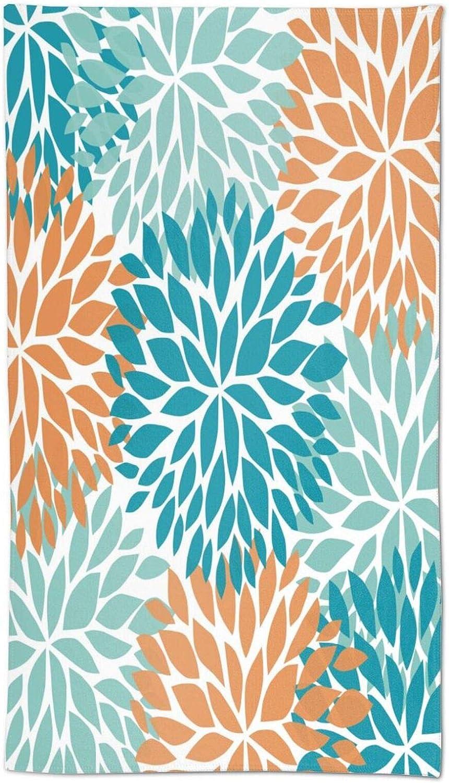 Dahlia Pinnata Flower Blue and Orange Soft Hand Max 44% OFF Towels Bath Max 87% OFF Towe