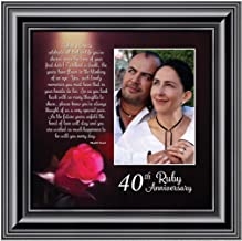 Ruby Anniversary, Personalized Ruby Wedding Anniversary Picture Frame, 40th Wedding Anniversary, 10x10 6307B