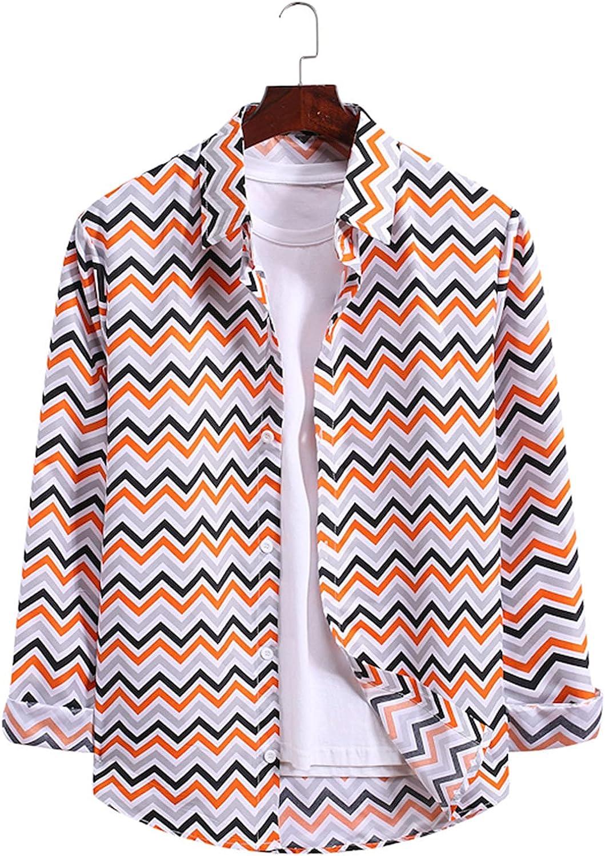FORUU Casual Mens Button Down Shirts 2021,Fall Fashion Wave Striped Shirt Long Sleeve Turn-Down Collar Shirt Tops Blouse