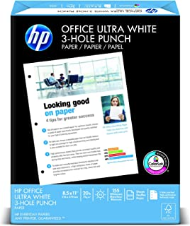 HP Printer Paper, Office20 Paper, 8.5 x 11 Paper, 3 Hole Punch, 92 Bright - 1 Ream / 500 Sheets (113102R)