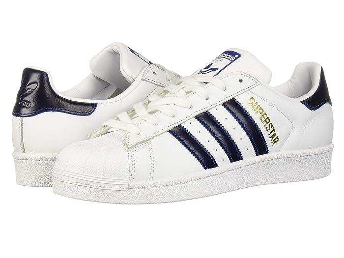 Retro Sneakers, Vintage Tennis Shoes adidas Originals Superstar WhiteCollegiate RoyalGold Metallic Mens Classic Shoes $100.00 AT vintagedancer.com