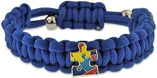 Autism Awareness Paracord Adjustable Survival Bracelet with Puzzle Piece Charm